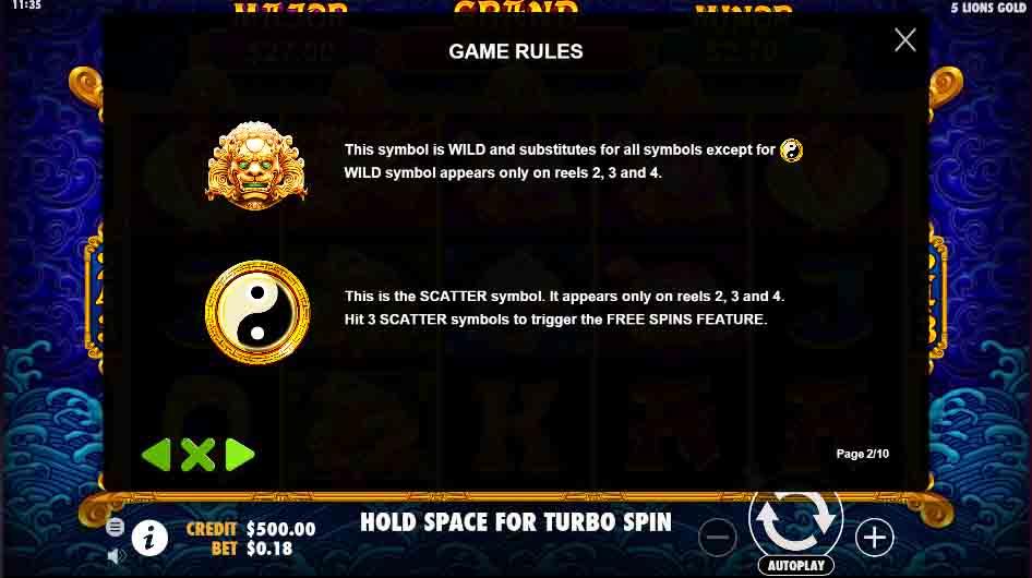 เกมสล็อต 5 Lions Gold หมุนสล็อตสูงสุด 24 ครั้ง